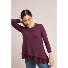 Dolan Left Coast Woven Ruffled-Hem Tee ($68) ❤ liked on Polyvore featuring tops, t-shirts, wine, woven t shirt, purple pullover, 3/4 sleeve t shirts, wine t shirts and three quarter sleeve t shirts