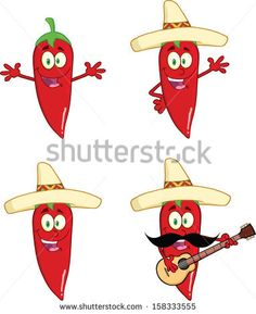 Red Chili Peppers Cartoon Characters 2. Vector Collection Set