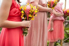 coral bridesmaid dresses Costa Rica Destination Wedding at Mountain Paradise Hotel