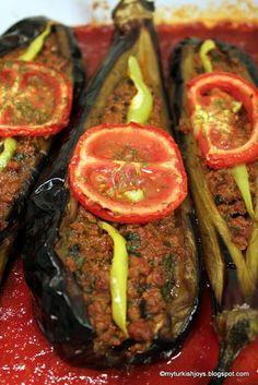 Good recipe, but without the garlic.  Cooking Karnıyarık (Turkish Split-Belly Eggplant) ~ My Traveling Joys