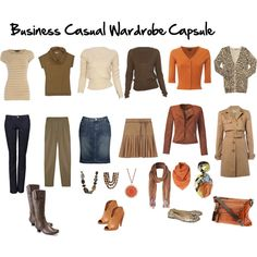 Business Casual Wardrobe Capsule, created by imogenl on Polyvore - some good ideas here