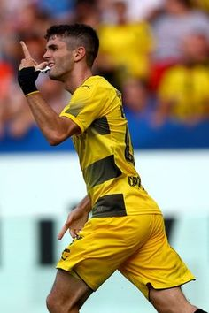 Christian Pulisic of Dortmund celebrates the second goal during the preseason friendly match between VfL Bochum and Borussia Dortmund at Vonovia Ruhrstadion on July 22, 2017 in Bochum, Germany. The match between Bochum and Dortmund ended 2-2.