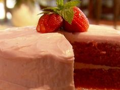 Paula Deen's Strawberry Cake-- I LOVE to make this cake. I use my own recipe for the strawberry cream cheese frosting, but it is always a winner!  :) Plus, it is very easy!