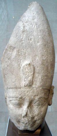 7. Faraó Ahmose usando a coroa Branca. Estátuas egípcias antigas, no Metropolitan Museum of Art, Nova York.