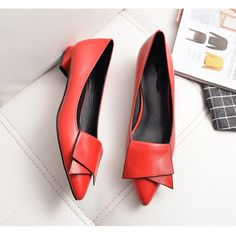 Women Shoes Fashion Pointed Toe Butterfly Knot Flat Shoes Shoes C442,Red,10