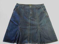 Womens Denim Jean Skirt 16 Eddie Bauer Pleated