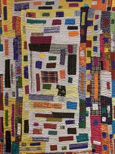 Africa Quilt exhibit at Museum of Arts and Design NY, photo by Robin Olsen of a quilt by by Siddhi Women's Quilting Co-op.