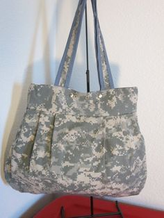 2447d693cefe4a Army Military ACU Uniform Shirt Fabric Tote Reversible Silver Snap closure  Reverse to Army Pride to normal Purse anytime !