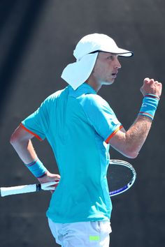 Day Marc Polmans of Australia celebrates a point in his first round match against Denis Kudla of the United States during day one of the 2019 Australian Open at Melbourne Park on January 2019 in Melbourne, Australia. Australian Open Tennis, First Round, High Quality Images, January 14, Melbourne Australia, Celebrities, United States, Park, Fashion