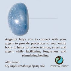 Angelite helps you to connect with your angels to provide protection to your entire body. It helps to relieve tension, stress and anger, while facilitating forgiveness and stimulating healing. Perfect for balancing your Throat Chakra. Chakra Crystals, Crystals And Gemstones, Stones And Crystals, Gem Stones, Chakra Stones, Crystal Healing Stones, Crystal Magic, Healing Rocks, Reiki