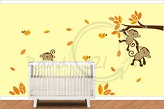 Three Monkeys Hanging Wall Decal  #vinyl #forthehome #nursery #bedroom #custom #walldecal #vinyldecal #children #nature #leaves  http://www.round321.com