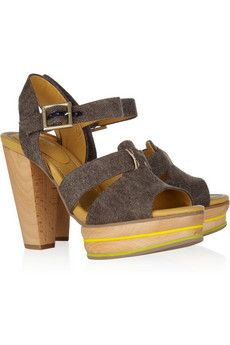 See by Chloé. Tweed and leather sandals $365