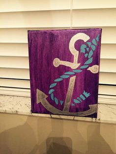 11x14 Hand Painted Canvas with Anchor.  ** Colors can be done in whatever you want, please leave in personalized area!