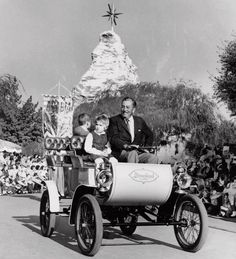 Walt Disney in a Disneyland Christmas season parade. The star, topping the Matterhorn, was a local landmark for many years.