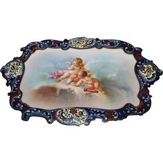 Extremely Rare Sevres Porcelain Plaque  Champlevé Bronze Desk or Dresser Tray ~ Hand Painted Porcelain Insert ~ Circa early 1800's~ Wonderful Original Condition