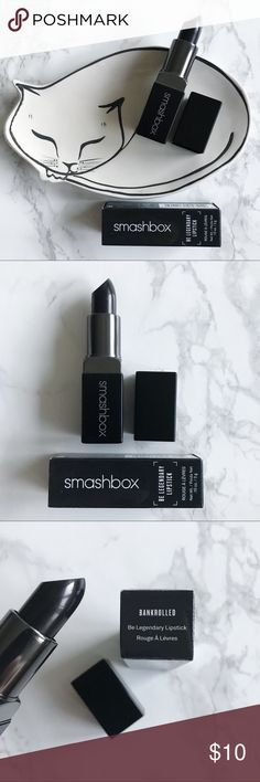 """Smashbox Be Legendary Lipstick in Bankrolled Brand new in box! """"Bankrolled"""" is a sheer black cream. Perfect for Halloween! Smashbox Makeup Lipstick"""
