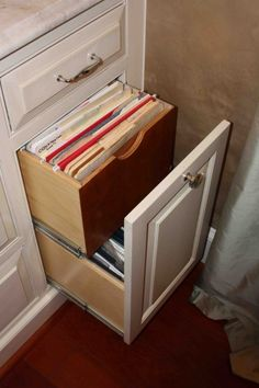 An old hope chest turned into a filing cabinet. Took forever, but ...