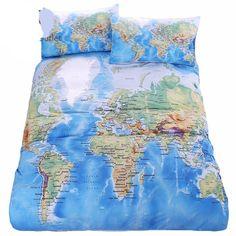World Map Bedding Set Duvet Cover with Pillowcase