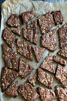 """""""Brownie Brittle"""" my substitutions: Carob powder for cocoa powder 1/2 dark chocolate & half semi-sweet Topped with mini chips instead of toffee Absolutely.Amazing."""