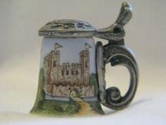 Old Heirloom Editions Bavarian Castle Porcelain Thimble Stein with Metal Lid | eBay