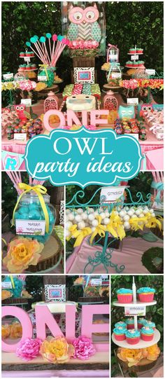 What a sweet owl themed birthday party! See more party ideas at CatchMyParty.com!