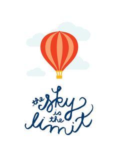 """The Sky is the Limit"" - Graphic Art Print by Genna Cowsert. Nursery Prints, Nursery Art, Wall Art Prints, Nursery Ideas, Classroom Displays, Classroom Themes, Balloon Illustration, Illustration Kids, Graduation Theme"
