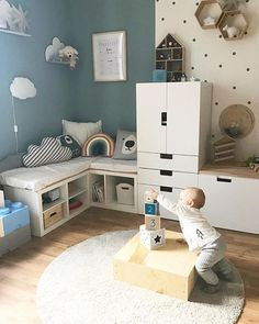 42 Fantastic Baby Bedroom Ideas With Play Areas Ikea Bedroom, Baby Bedroom, Bedroom Ideas, Boy Room, Kids Room, Terrasse Design, Baby Playroom, Tapis Design, Decoration Bedroom