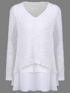 Chiffon Patchwork Loose Knitwear in White   Sammydress.com