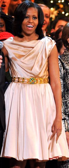 Michelle Obama wore a Byron Lars dress.  http://www.harpersbazaar.com/celebrity/red-carpet-dresses/michelle-obama-turns-fifty