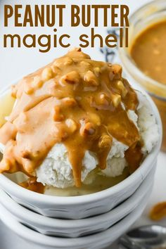 An easy 3 ingredient recipe for Peanut Butter Magic Shell only takes 5 minutes. Use creamy or crunchy peanut butter for a perfect homemade ice cream topping! What Is Healthy Food, Healthy Foods To Make, Healthy Food Habits, Healthy Diet Recipes, Gourmet Recipes, Healthy Eating, Cooking Recipes, Mustard Cream Sauce, 3 Ingredient Recipes