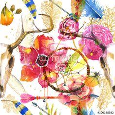 """Pobierz zdjęcie royalty free  """"seamless pattern in boho style"""" autorstwa cofeee w najniższej cenie na Fotolia.com. Przeglądaj naszą bazę tanich obrazów online i odnajdź doskonałe zdjęcie stockowe do Twoich projektów reklamowych!"""