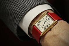 Cartier Tank LC on red leather...love it! Got my attention!