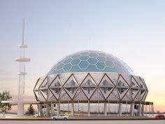 Engiz Architects Mosque Concept for a corner plot. #islamicarchitecture
