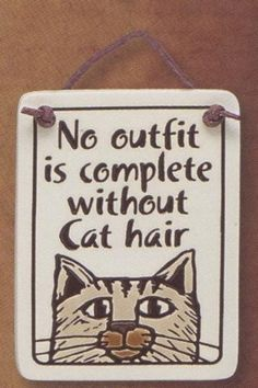 No outfit is complete without Cat hair Ceramic Plaque Price : $10.50 http://www.waggintailsandmore.com/outfit-complete-without-Ceramic-Plaque/dp/B009QSZ6T2