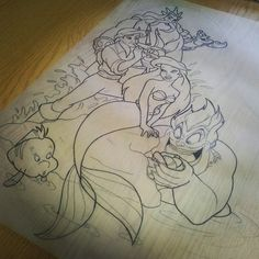The little mermaid sleeve designed for miss @xmissatomicbombx cant wait to start…