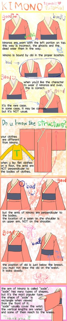 im glad it helps you to draw kimonos~ i introduce the way to draw proper kimono, but i love imaginary kimono, too if you have any question or tutorial request, feel free to ask me. 描く...