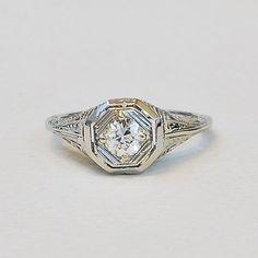Antique Edwardian 18K White Gold and Diamond Filigree Engagement Ring on Etsy, $1,695.00