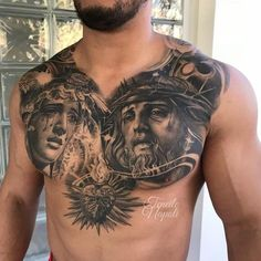 Tattoo uploaded by Teneile Napoli Chest Tattoo Wings, Full Chest Tattoos, Chest Piece Tattoos, Jesus Chest Tattoo, Jesus Tattoo Design, Sketch Tattoo Design, Tattoo Sleeve Designs, Sleeve Tattoos, Tattoo Aztecas