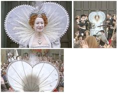 Fabulous costume worn very briefly by Helen Mirren in the TV mini-series 'Elizabeth I'. Silver brocade gown decorated with pearls and 'diamonds'. Worn over a cartwheel farthingale. Very pretty jewel and pearl headpiece with a single white feather. Elaborate wired sweetheart collar/ruff of plain lace has sewn-on emblems and is edged with picot lace. The back view shows its construction, with a circular 'plate' support hidden in the oversewn fabric.