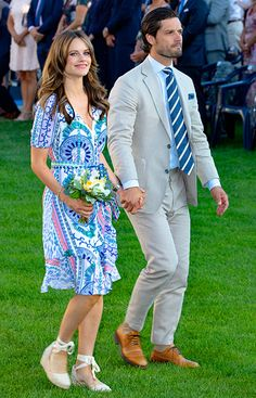 14 July 2019 - Swedish Royals attend Crown Princess Victoria's birthday celebrations at Borgholm Castle - dress by Malina