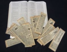 Old book pages turned into bookmarks. Can stamp and color, in the edges or use water colors.