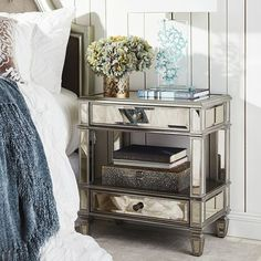 Superbe Pier 1 Hayworth Nightstand In Master Bedroom. I Have These Bedside Tables  And LOVE Them. Also Have Lead Crystal Lamps...thanks MOM | Master Bedroom  Ideas ...