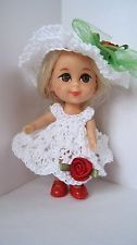 "Handmade Crochet Clothes Red Rose Dress Hat  Shoes for 3.5""  Liddle Kiddle Doll"