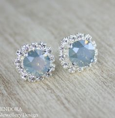 Blue Ice Swarovski Crystal earrings by #EndoraJewellery, $30.50 | something blue |  Love the blue ice stone but want a more casual earring for everyday? I can set this stone as a solitaire - available in my Etsy shop!