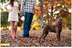 Fall Engagement shoot with our dog by Claire & Lindsey of Millie Holloman Photography | Landfall - Wilmington, NC