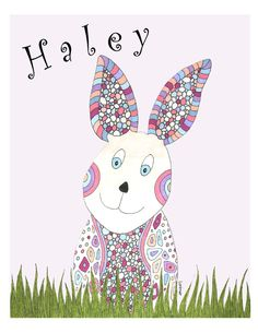Little Bunny Art Print for Child or Baby. Child by ValerieLorimer, $33.00