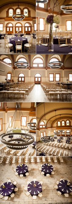 The Aston Depot Wedding Venue in Fort Worth TX - beautiful setup for an indoor ceremony and reception