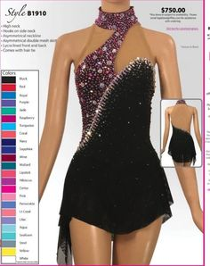Competition Ice Skating Dresses Black 2019 Custom Size for Girls Expensive Figure Skating Outfits, Figure Skating Dresses, Ice Skating Outfits, Dance Team Shirts, Skater Girl Style, Jazz Dance Costumes, Ballroom Dance Dresses, Roller Derby, Dance Outfits