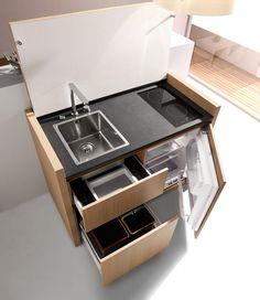 Компактная мини кухня для небольших квартир-студий