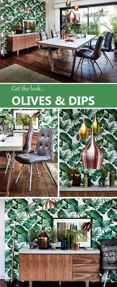 Love this summer's tropical trend for the home? Our Olives & Dips collection pays homage to those dream destinations, with shimmering metals and tropical-inspired hues, partnered with fun, functional furniture and retro-inspired accessories. Find out how to get the look...